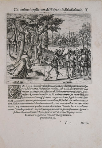 Theodore de Bry (1528-1598), after John White (c. 1540-1593), Columbus fupplicium ab.. X