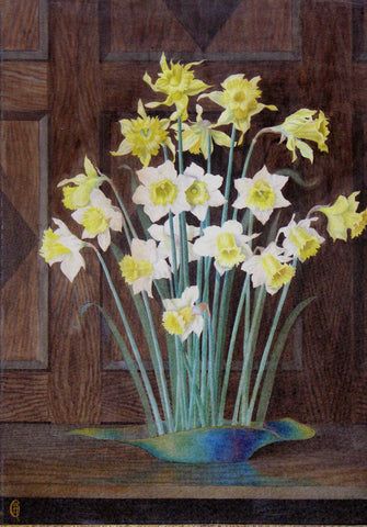 Camille DemarÇay (French, fl. 1869-1880), Narcissi in a vase