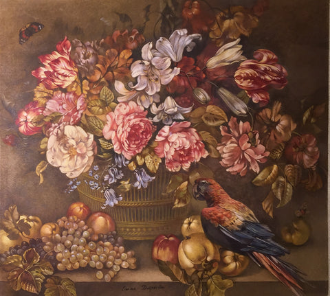 Emma-Andre-Felicit Desportes de la Fosse (French,1810-1869), Basket of Flowers with Fruit on a Ledge with Parrot