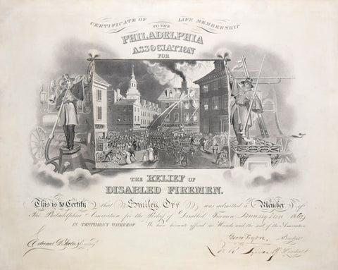 John Rubens Smith (1775-1849), Certificate of life membership to the Philadelphia Association for the relief of disabled firemen