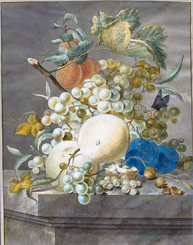 Catharina du Bois (Dutch, d.1776), Still Life With Peaches, Plums, And Grapes