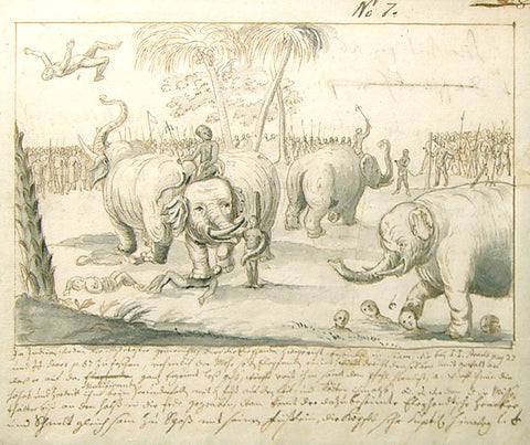 German School (18th century) Scene with Elephants, Rhinos and Warring Figures