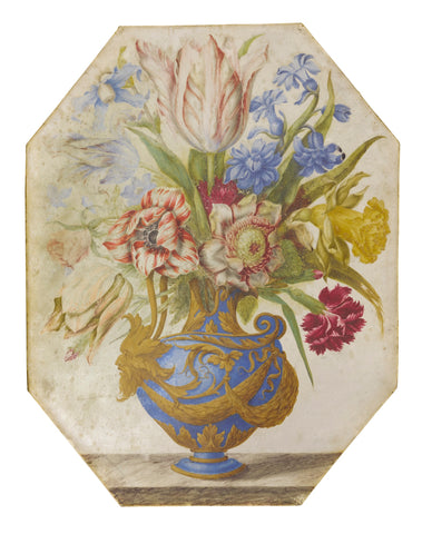 French School, (17th Century), Still Life of a Blue and Gold Vase with a Bouquet of Flowers