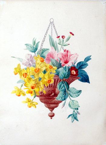 Anthelme-Eugene Grobon (French, 1820-1878), Bouquet of flowers in a Hanging Vase