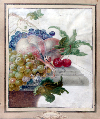 Herman Henstenburgh (Dutch, 1667-1726), Grapes, peaches, cherries and insects on a tabletop