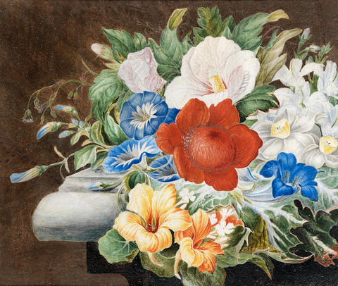 Herman Henstenburgh (Dutch, 1667-1726), Chrysanthemums, convolvulus and other flowers on a stone ledge