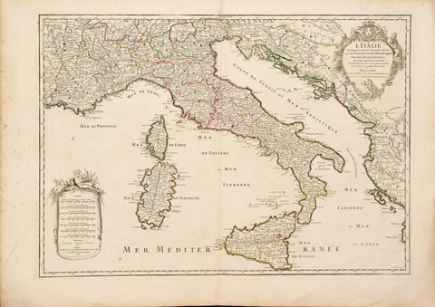 Alexis Hubert Jaillot (French, 1632-1712), after Nicolas Sanson, Sr., (1600-1667) L'Italie.. Les Estats, Royaumes, Republiques Duche's, Principautes…[Italy, surrounding States and the Mediterranean]