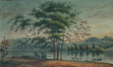 August Kollner (American, active 1838–72),  Peters Island, Phila. On Schuylkill River. 1867. [Fairmount Park, Philadelphia]