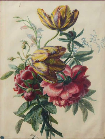 Jean-Pierre Laÿs (FRENCH, 1825-1887), Tulips and Peonies