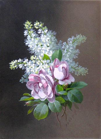 Raoul Maucherat de Longpré (French, 1843-1911), Bouquet with Roses and Lilacs