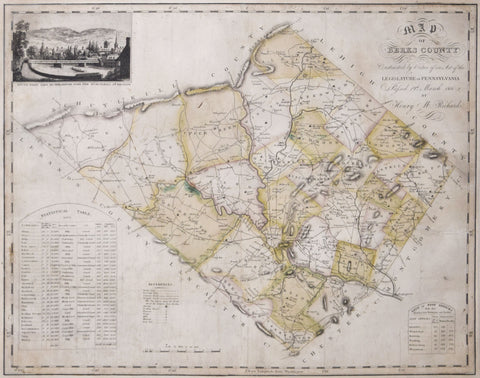 Henry M. Richards,  Map of Berks County was constructed by virtue of an Act of Legislature of Pennsylvania passed 19th March 1816 by Henry M. Richards