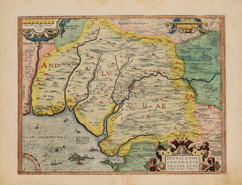 Abraham Ortelius (Flemish, 1527-1598)   Hispalensis Conventus Delineatio, Auctore Hieronijmo Chiaves 1579, [after Geronimo de Chaves]