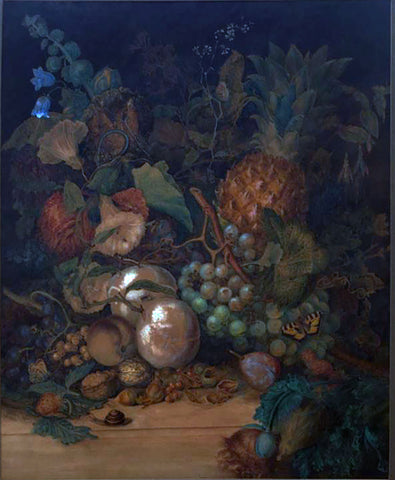 William Peart (British, fl. 1815), Still Life Of Grapes, A Pineapple, Other Fruit, Flowers & Insects