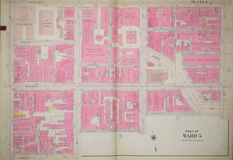 Elvino V. Smith, Plate 4-Part of Ward 5 showing Fifth Street to Second Street via Chestnut, Walnut, and Locust Streets