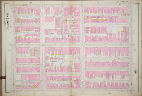 Elvino V. Smith, Plate 23-Part of Wards 7 and 8 showing Twenty Third Street to Twentieth Street via Locust, Spruce, Delancey and Pine Streets