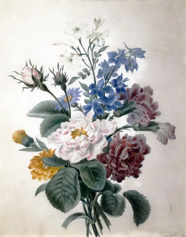 Jean Louis Prévost (c. 1760-1810), Bouquet Roses, Carnations, and Anemones