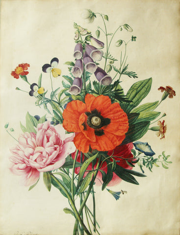 Jean Louis Prévost (c. 1760-1810), Bouquet with poppy and peony