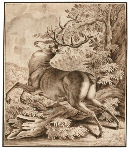 JOHANN ELIAS RIDINGER (GERMAN, 1698-1767), A Startled Deer