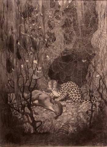AIDEN LASSELL RIPLEY (AMERICAN, 1896-1969) African Leopard, with a Deer, Through Cobwebs