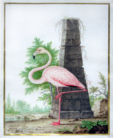 Nicolas Robert (French, 1614-1685), Flamingo with Obelisk