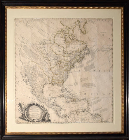 John Rocque (1704?-1762)  A General Map of North America: In which is Espress'd, The several New Roads, Forts, Engagements &c.. made in the Army employ'd there. From the Years 1754 to 1761.