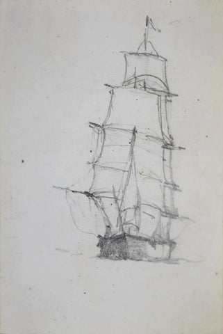 Milton J. Burns (1853-1933) [Single ship with large sail]