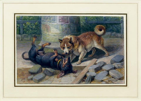 Friedrich Specht (German, 1839-1909) A Dachshund Puppy and Husky Playing