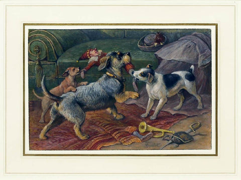 Friedrich Specht (German, 1839-1909) Terriers Fighting For a Doll