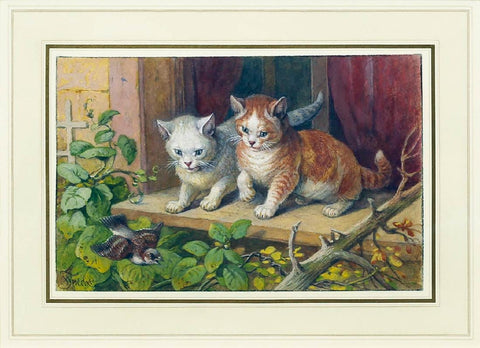 Friedrich Specht (German, 1839-1909) Two Kittens Watching a Sparrow