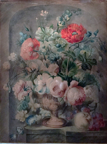 Pieter van Loo (Dutch, 1731-1784), Still Life of Roses, Poppies, and Assorted Flowers in an Urn on a marble Ledge