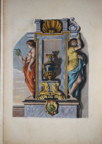 Pierre Le Pautre (1652-1716), Caryatids painted red and yellow