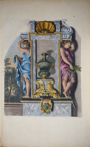 Pierre Le Pautre (1652-1716), Caryatids painted blue and pink