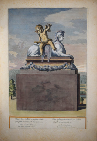 Pierre Le Pautre (1652-1716), Figure d'vne Sphinx de Marbre blanc qui porte un amour de bronze doree (Sphinx facing right)
