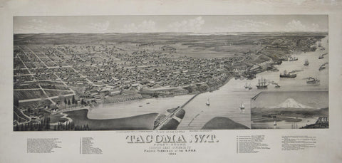 J.J.Stoner, Publisher/Beck & Pauli Lith., View of the City of Tacoma, W.T., Puget-Sound..1884
