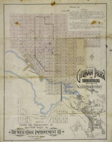 Charles H. Baker, Civil Engineer, The Gilman Park, Seattle, Washington Territory [with inset map of the City of Seattle]