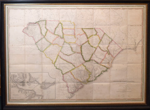 John Wilson (1789-1833), A Map of South Carolina, Constructed and Drawn from the District Surveys, ordered by the Legislature by John Wilson...[Includes inset map of Charleston Harbor]
