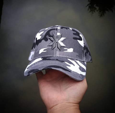 White Camo Hat velcro back
