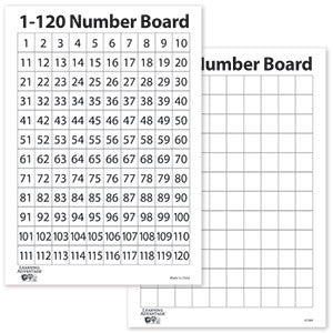 1-120 Number Dry Erase Boards, Set of 10
