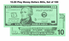 $10.00 Play Money Dollars Bills, Set of 100