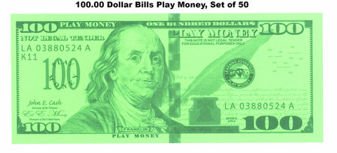 $100.00 Dollar Bills Play Money, Set of 50