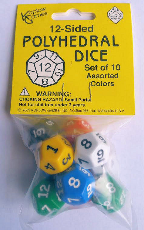 12-Sided Polyhedral Dice, Set of 10 - EducationalLearningGames.com