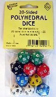20-Sided Polyhedral Dice, Set of 10 - EducationalLearningGames.com