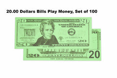 $20.00 Dollars Bills Play Money, Set of 100