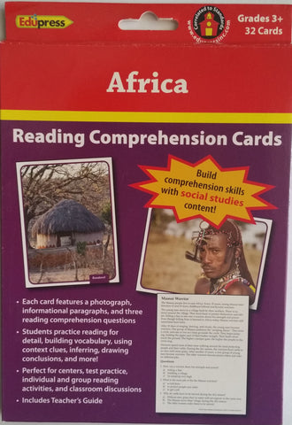 Africa Reading Comprehension Social Studies Cards - EducationalLearningGames.com