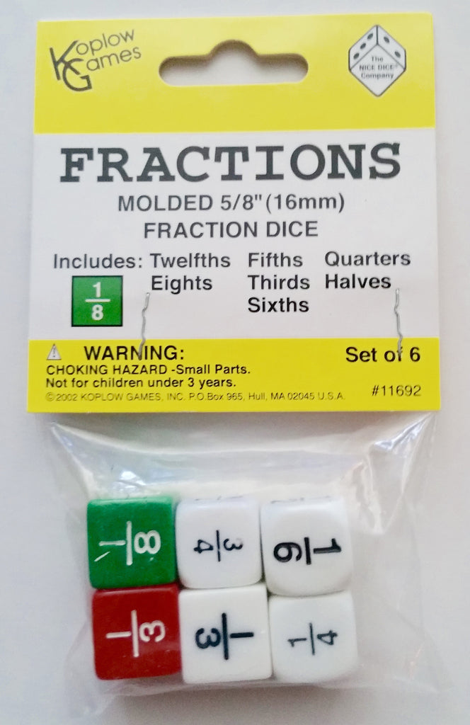 Fractions Dice, Set of 6