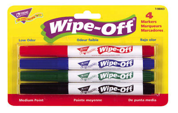 4-Pack Standard Colors Wipe-Off Markers EducationalLearningGames.com