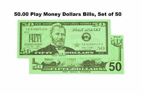 $50 Play Money Dollars Bills, Set of 50