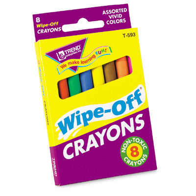8-Pack Regular Assorted Wipe-Off Crayons - EducationalLearningGames.com