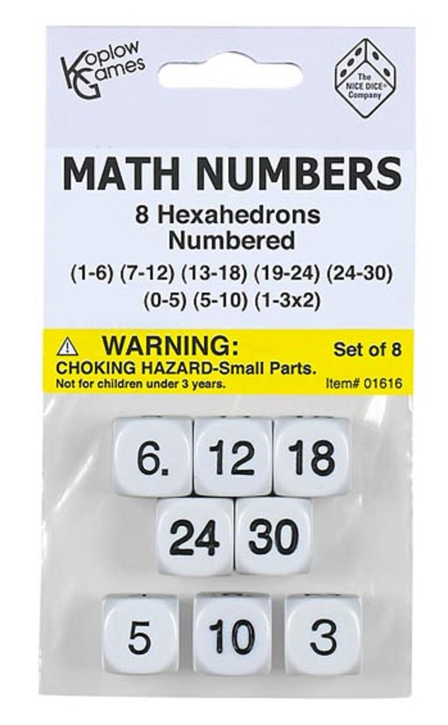 8 Dice Math Numbers, Set of 8 EducationalLearningGames.com