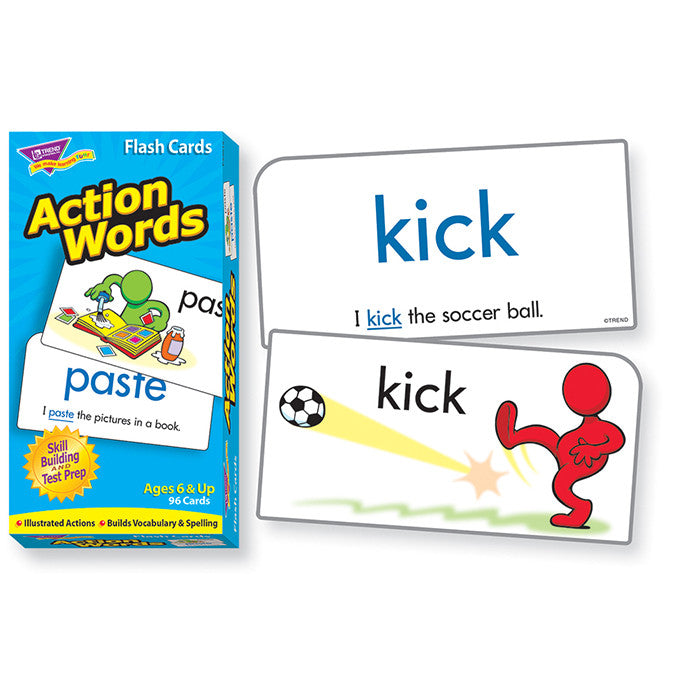 Action Words Skill Drill Flash Cards - EducationalLearningGames.com